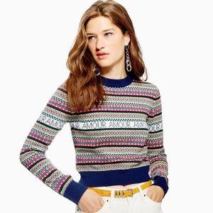 Topshop Slogan Fair Isle Sweater